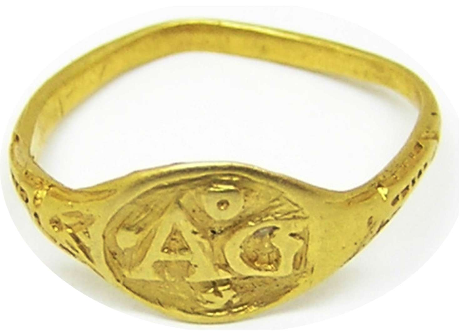 Jacobean period gold and enamel finger ring AG and a Heart