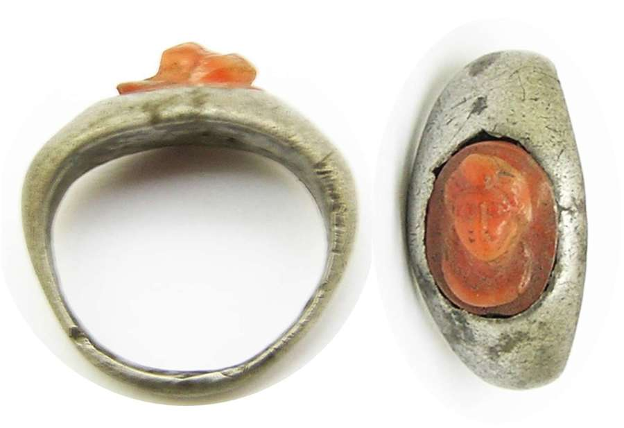 Ancient Roman silver and carnelian cameo ring of Eros