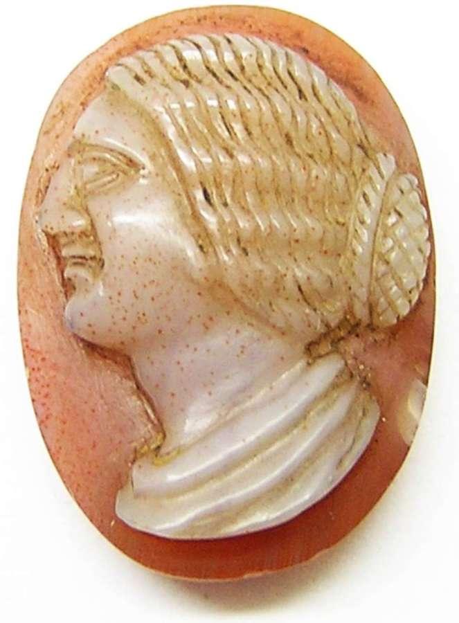 Ancient Roman Hardstone Sardonyx Cameo of Empress Julia Domna