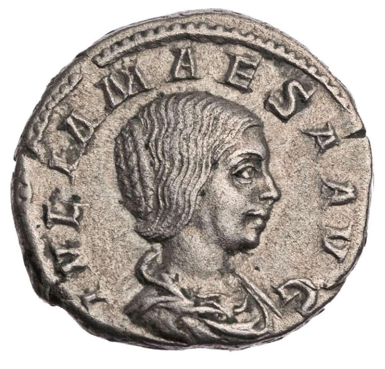 Ancient Roman silver denarius of Julia Maesa / Perpetual Blessedness