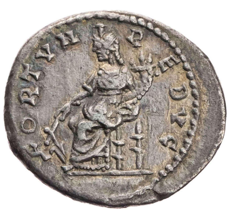 Ancient Roman silver denarius of emperor Septimus Severus / Fortune