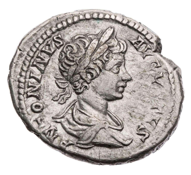 Ancient Roman silver denarius of Caracalla / Sol