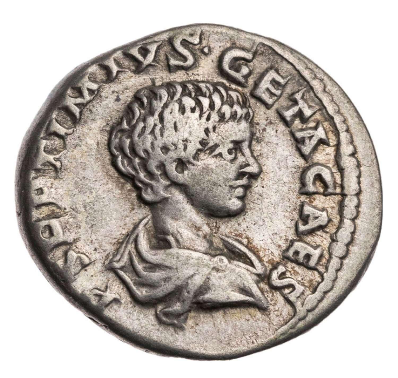 Ancient Roman silver denarius of Geta / Mars Victor