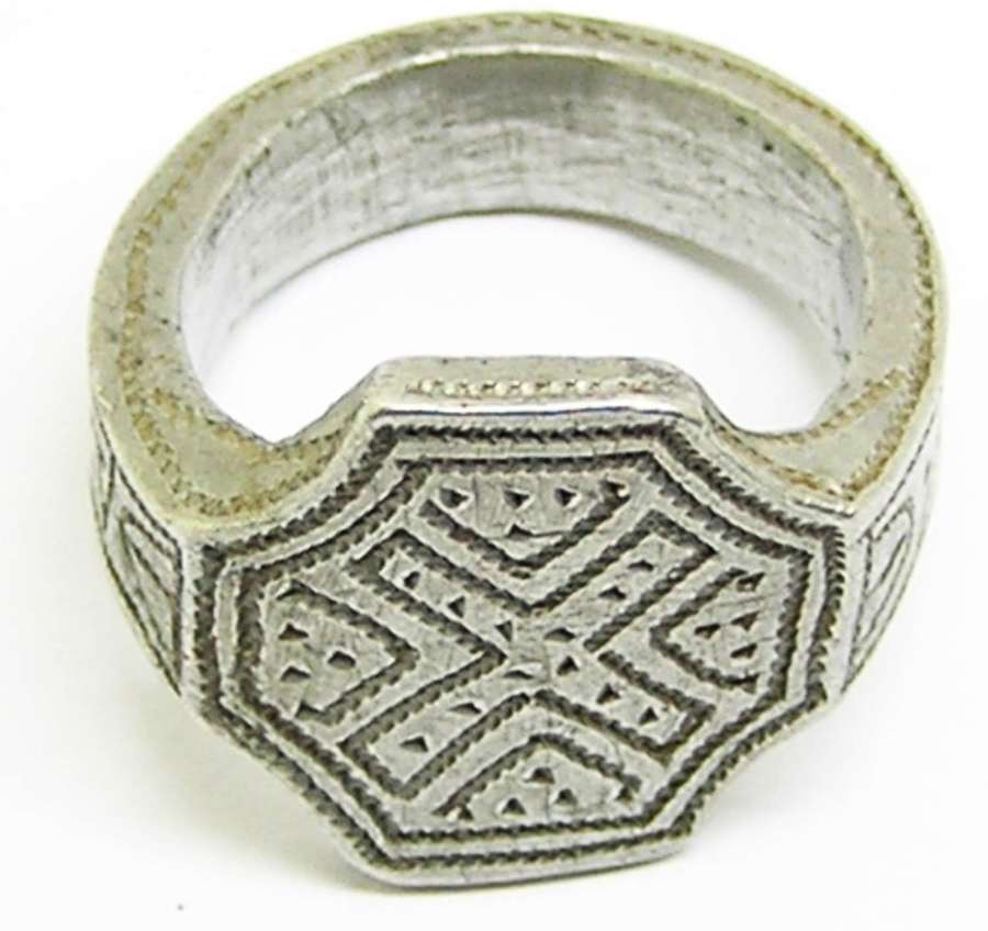Medieval silver signet ring Scottish Saltire