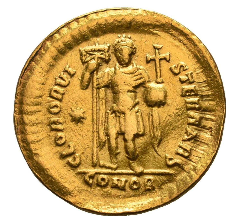 Roman Gold Solidus of Emperor Theodosius II