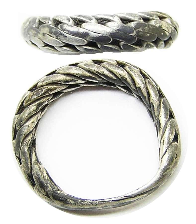 Viking Scandinavian Braided Type Silver Finger Ring