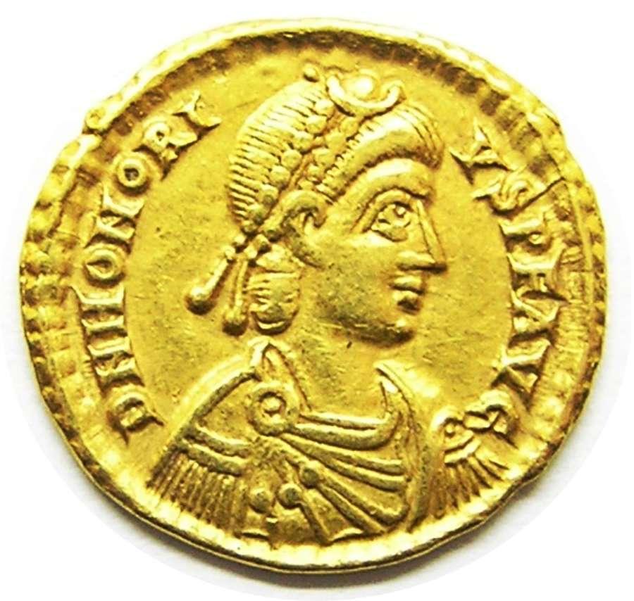 Roman gold solidus of emperor Honorius Ravenna