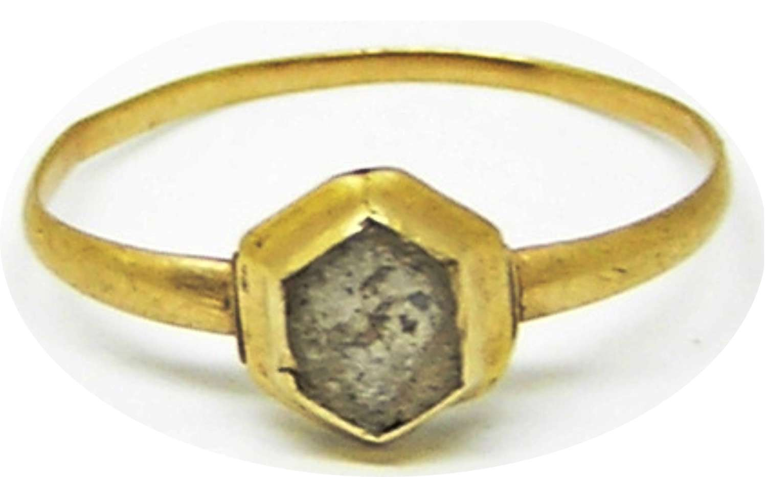 Medieval gold and finger ring in excavated condition