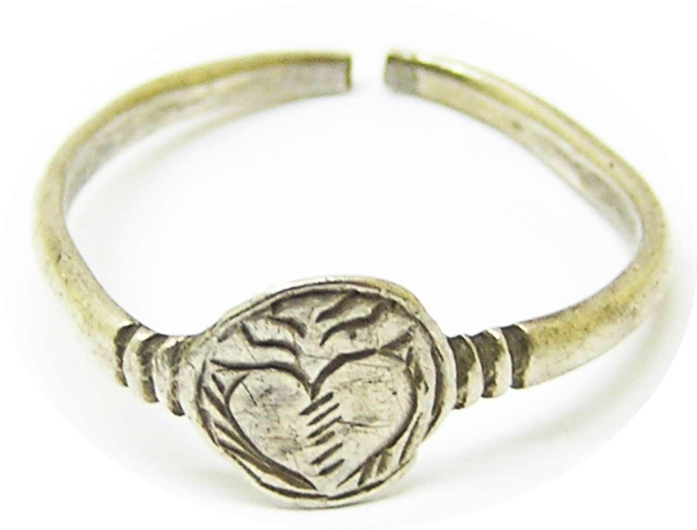Renaissance Lovers silver finger ring of a flowering heart