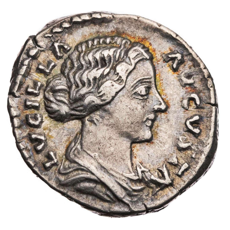 Ancient Roman silver denarius of empress Lucilla / Purity