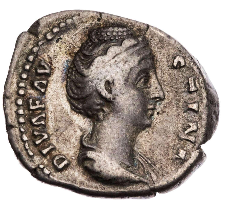 Ancient Roman silver denarius of the Divine Faustina / the venerable