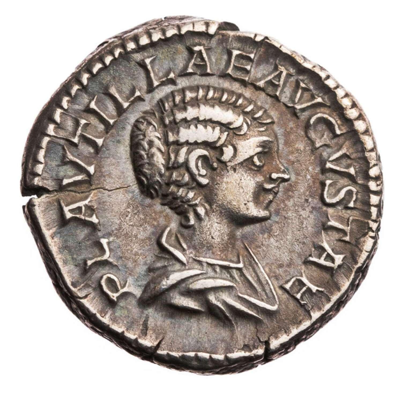 Ancient Roman silver denarius of empress Plautilla / Wedding ceremony