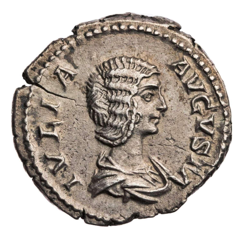 Ancient Roman silver denarius of Julia Domna / Venus Victorious