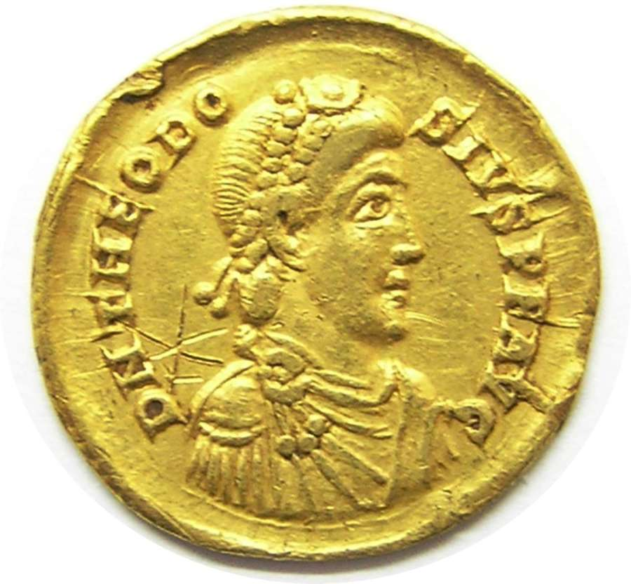 Roman gold solidus of Theodosius the Great Milan Mint