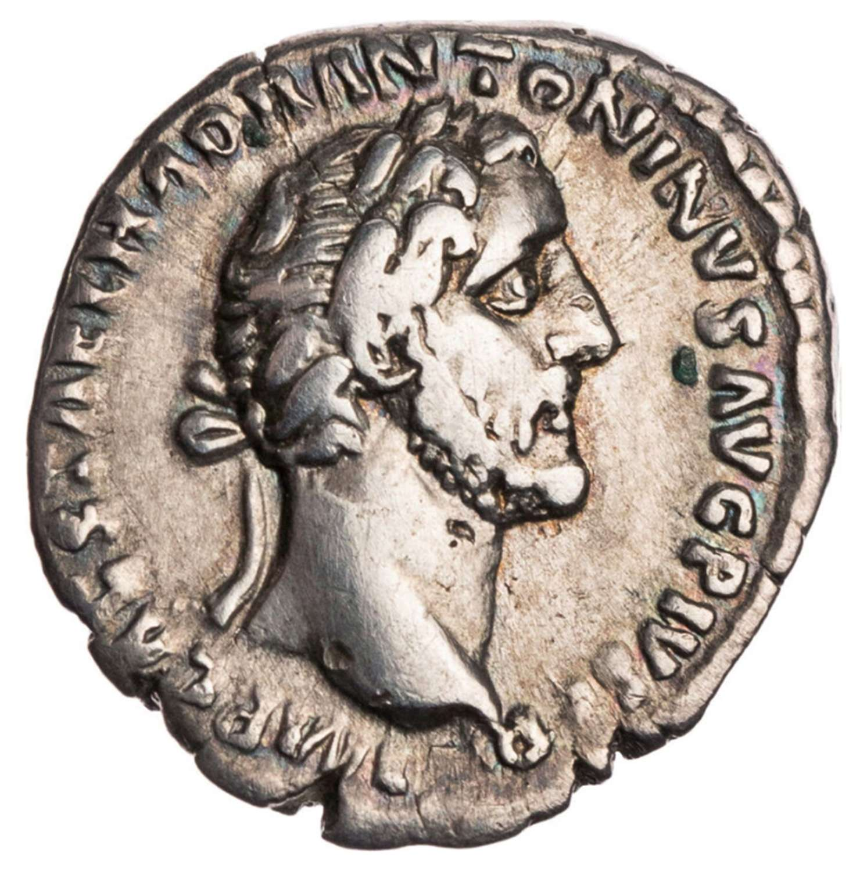 Ancient Roman Silver Denarius of Emperor Antoninus Pius / Peace