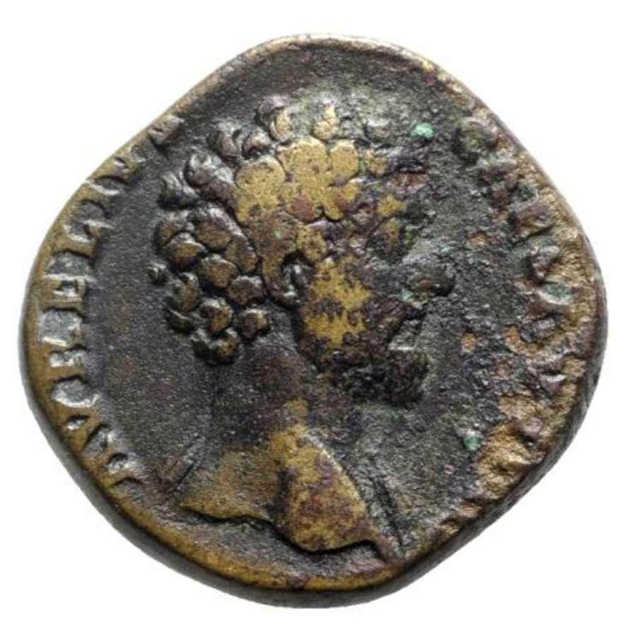 Ancient Roman AE Sestertius of Marcus Aurelius Caesar / Hope