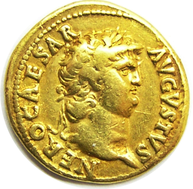 Ancient Roman gold aureus of emperor Nero / Salus