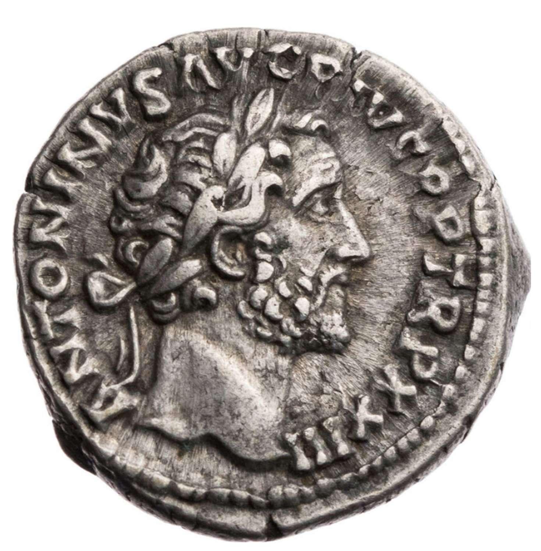 Ancient Roman Silver Denarius of Emperor Antoninus Pius / Fortuna