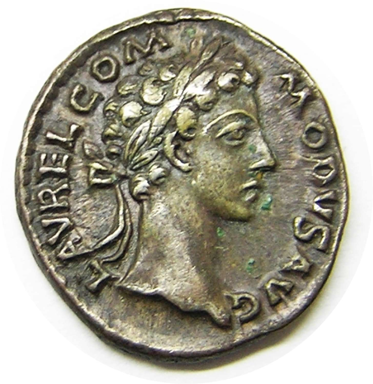 Ancient Roman Silver Denarius of Emperor Commodus / Good Fortune