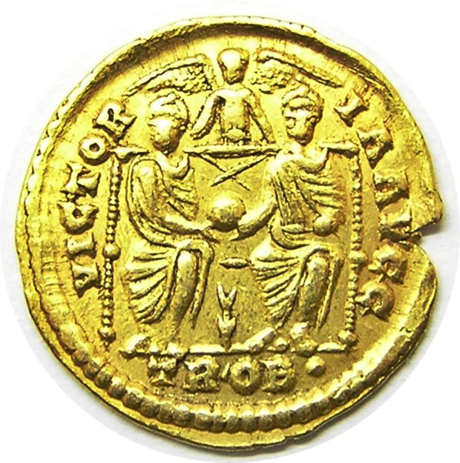 Ancient Roman Gold Solidus of Emperor Valens minted at Trier