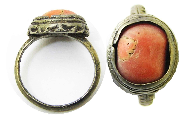 Renaissance Tudor period silver-gilt & coral set finger ring