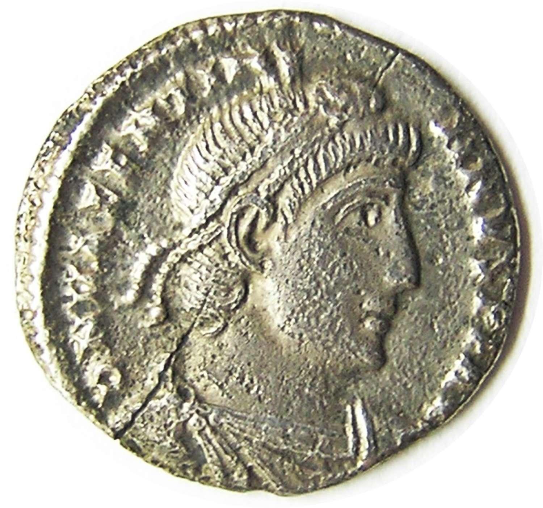 Ancient Roman Silver Siliqua of Emperor Valentinian Rome Mint
