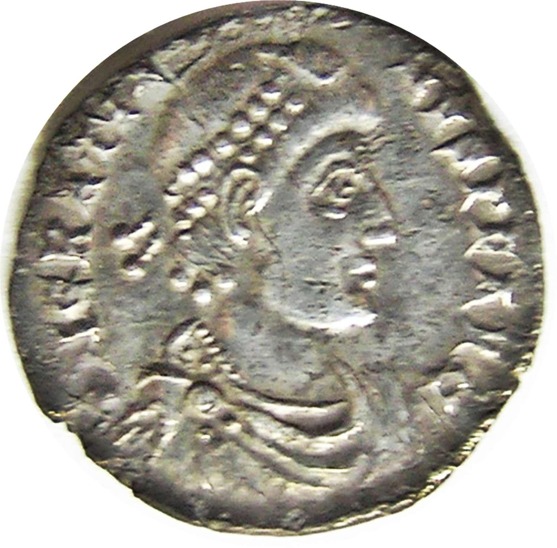 Ancient Roman Silver Siliqua of Emperor Gratian, Trier