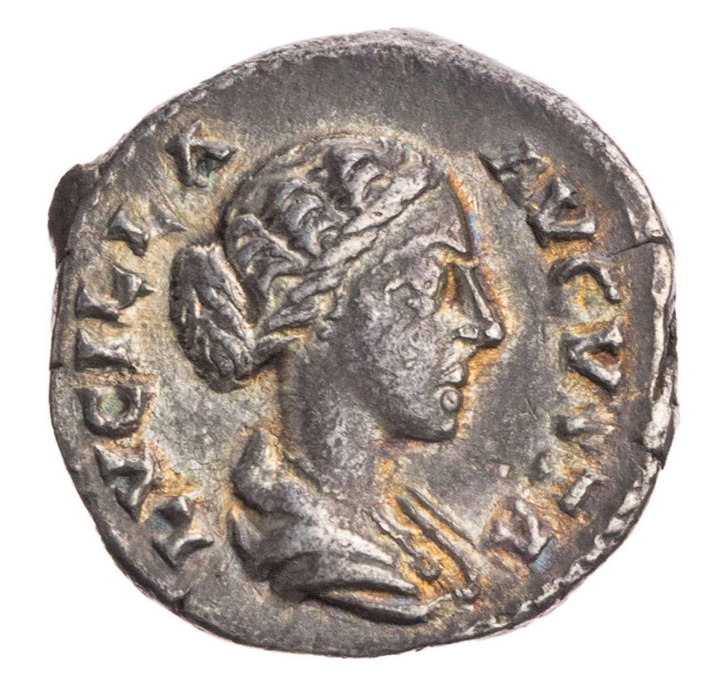 Ancient Roman silver denarius of empress Lucilla / Venus Victorious