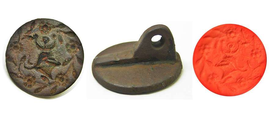 Medieval copper-alloy counterseal great helm and crest