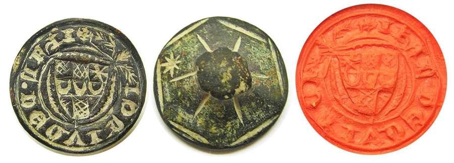 Medieval armorial seal of Iohan De Qvinci